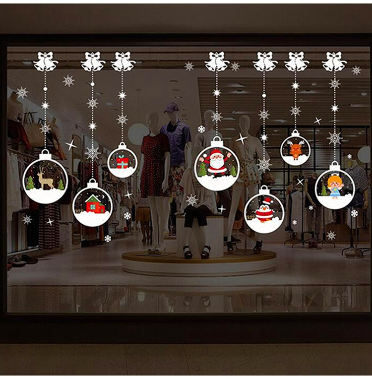 Snowman Christmas Balls Tree Glass Door Window Stickers