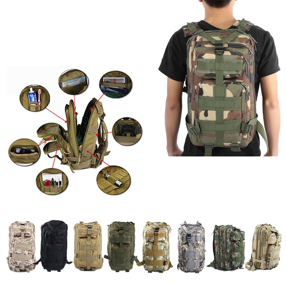 Men Military Tactical Army Backpack Rucksack Camping Hiking Trekking Outdoor Bag