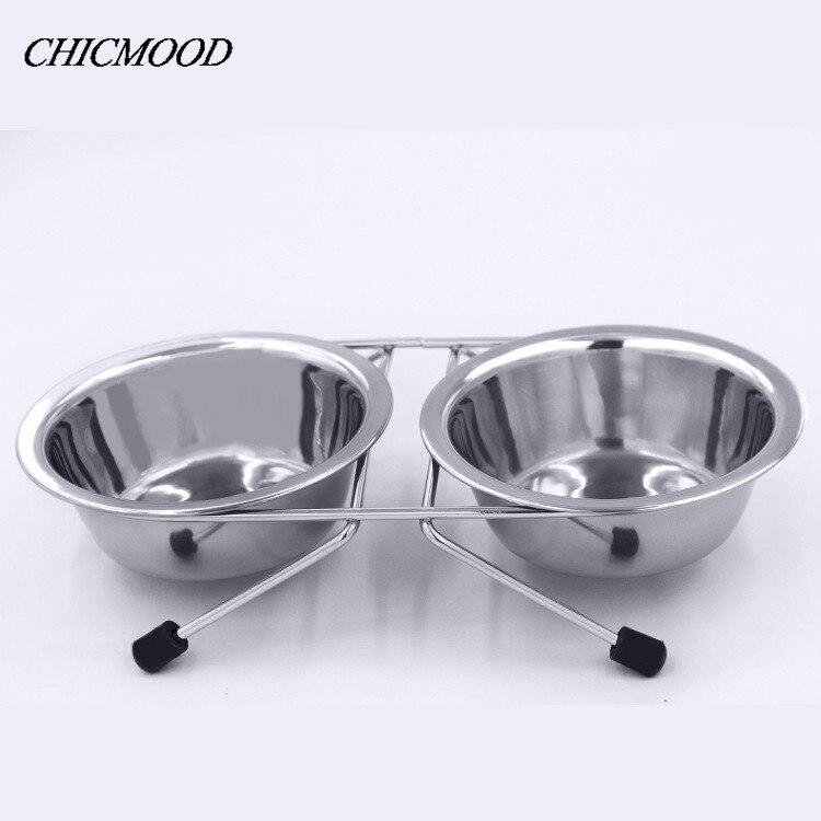 1Pcs Double Stainless Steel Bowls Dog Cat Pet