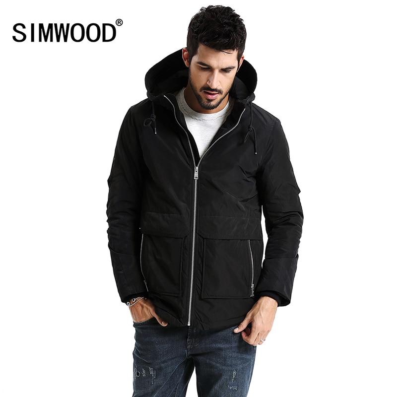 SIMWOOD New 2018 Spring Winter Men Outerwear Plus Size Polyester Thin Fashion Jacket Men parka Spring Casual Warm Coat MC017003