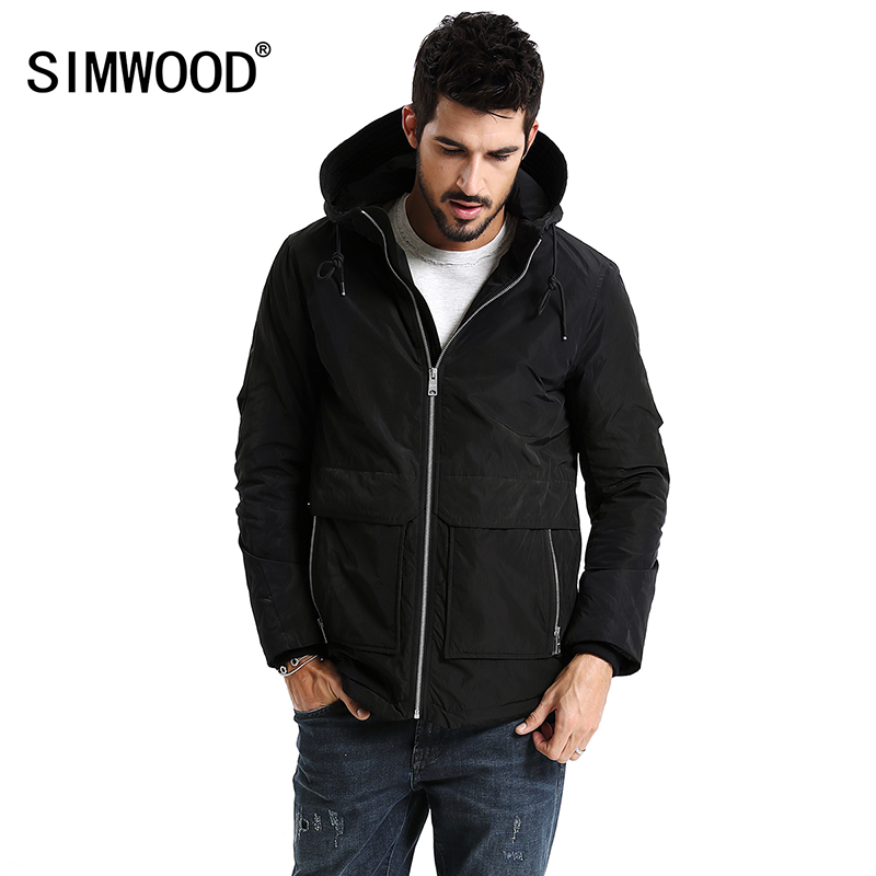 SIMWOOD New 2019 Winter Men Outerwear Plus Size Polyester Thin Fashion Mens Jacket   parka   Spring Casual Black Warm Coat MC017003