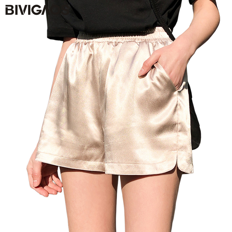 BIVIGAOS Womens Summer Shorts Harajuku Sweet Style Crystal Satin Casual Sleep Short Silky Shiny High Waist Korean Home Shorts