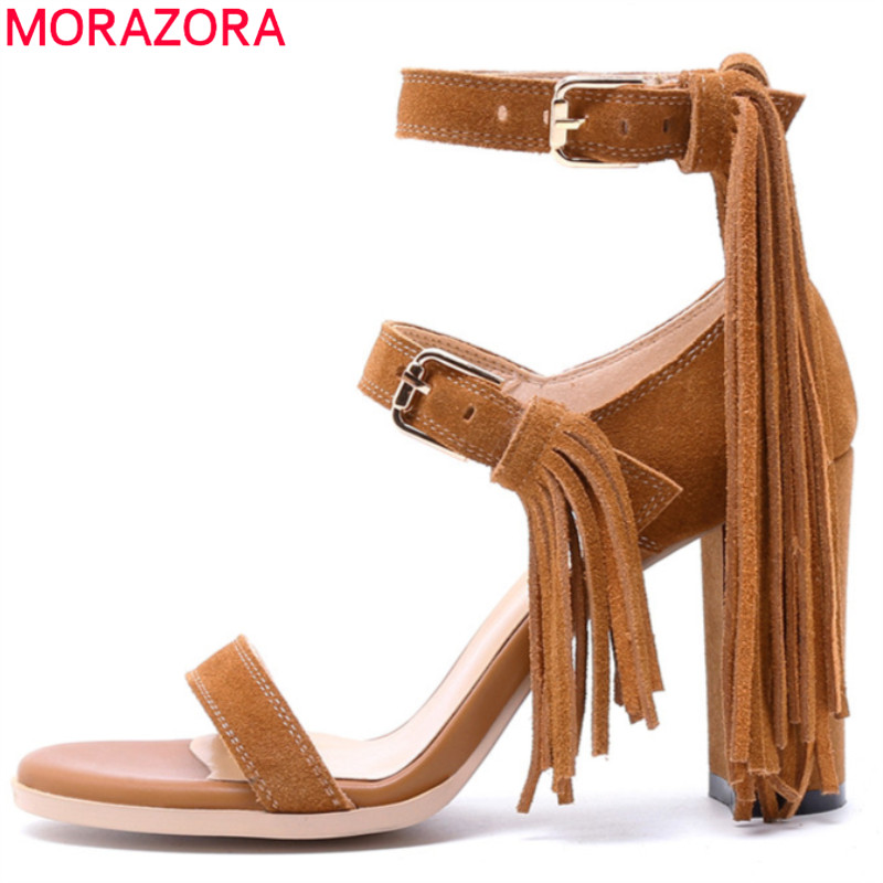 MORAZORA 2018 hot sale summer new arrive women sandals fashion buckle Tassels high heels sandals Cow Suede sexy lady prom shoes anmairon shallow leisure striped sandals women flats shoes new big size34 43 pu free shipping fashion hot sale platform sandals