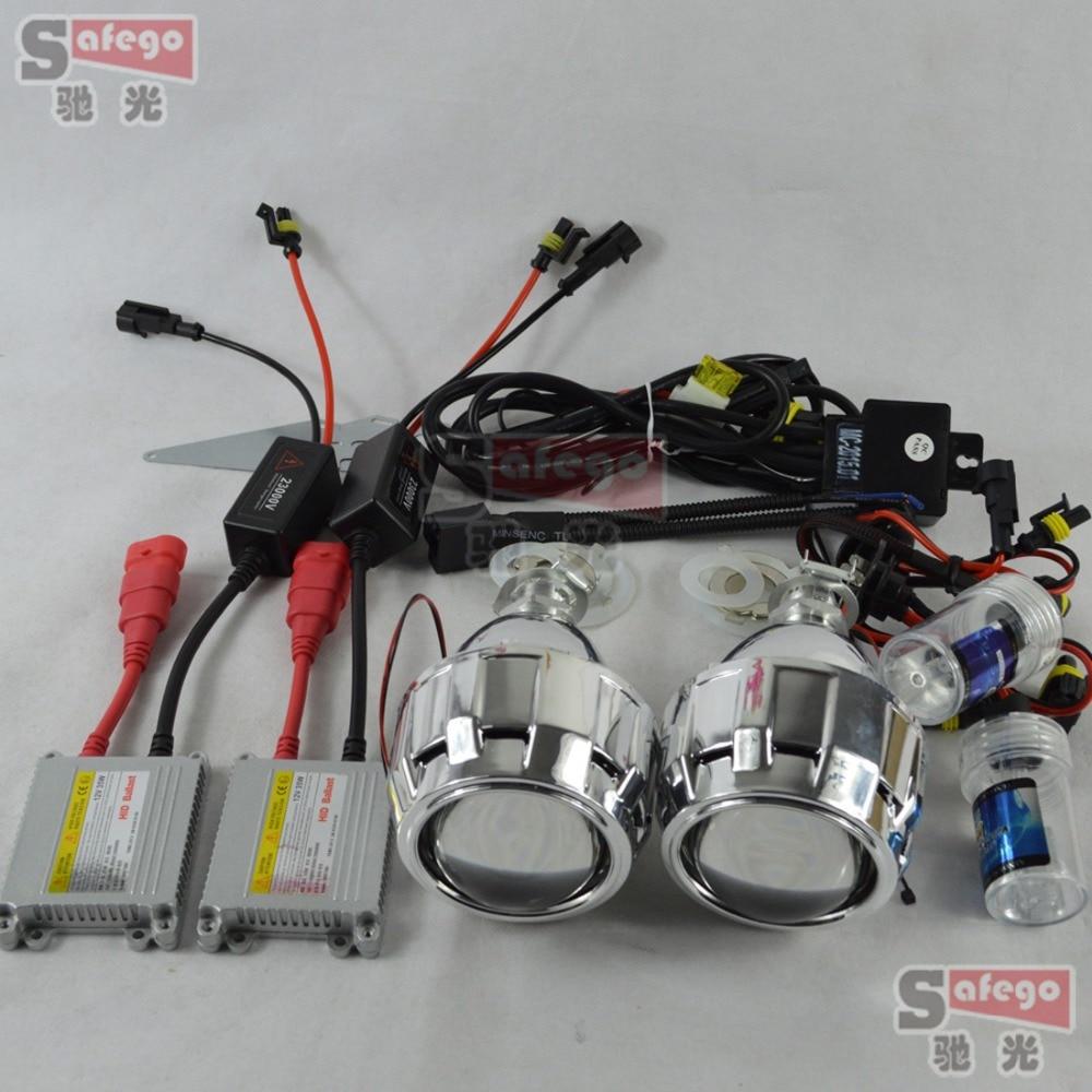 Phare xénon h7 projecteur bi lentille xénon 2.5 pouces avec masque linceul bixenon DC ballast h1 lampes xénon 6 k pour phare H1 H7 H4