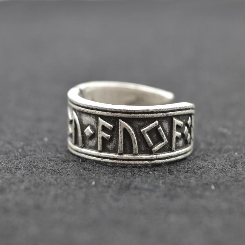 1pcs Inel de argint indian de argint Inel de Nord Rune Inele reglabile din margele de mireasa Bijuterii Viking