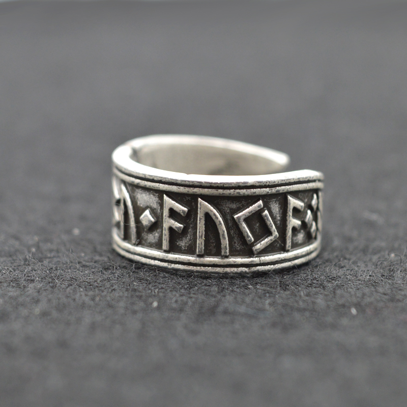 1 unids Plata Antigua Viking Ring Nordic Rune Anillos Hombres Hechos A Mano Anillos Ajustables Nórdico Mitología Viking Joyería