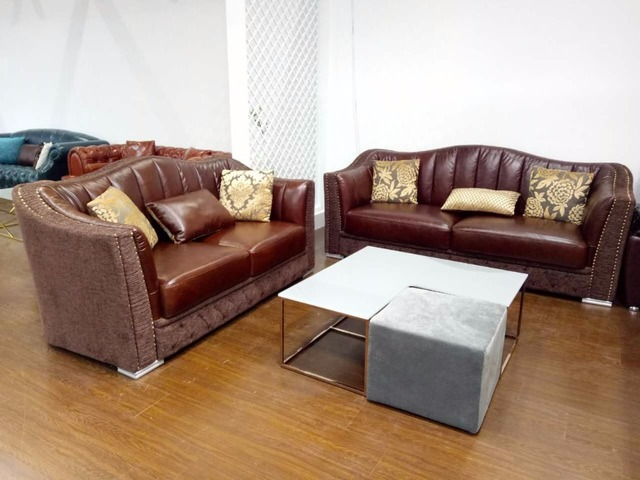 Top Grain Leather Sofa Stainless Steel Legs Modern Leisure Living