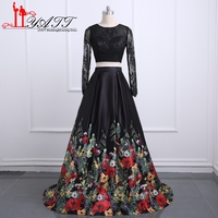Liyatt 2018 New Fashion 3D Print Two Piece Prom Dresses Black Long Sleeve Lace Top Backless Formal Evening Dress Party Gown