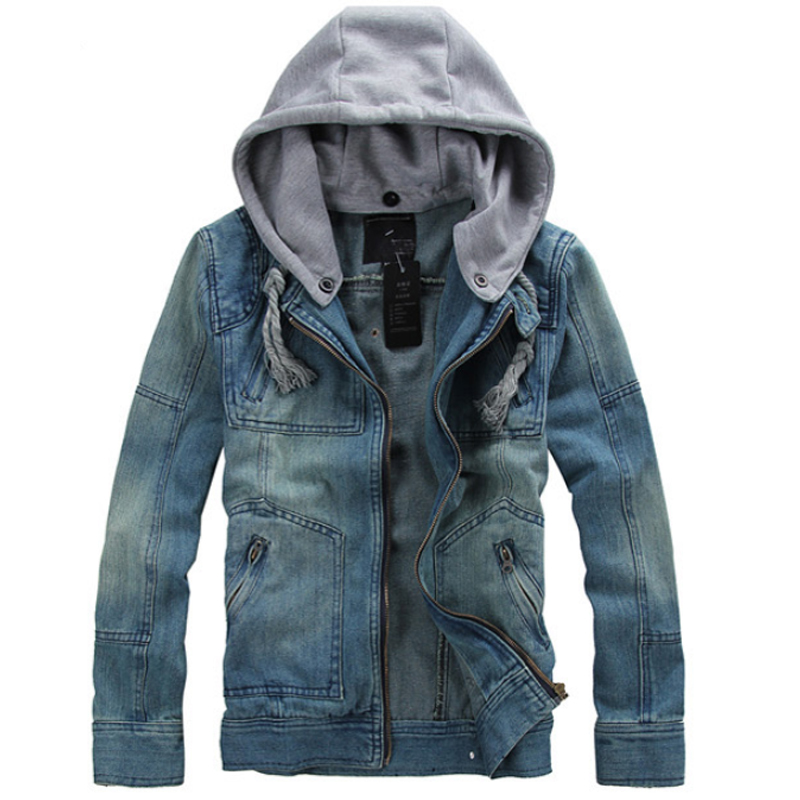 2018 New Jacket Men Hot Sale High Quality Jeans Jacket Hooded Jacket Autumn Winter Coat Casual Solid Male Jackets