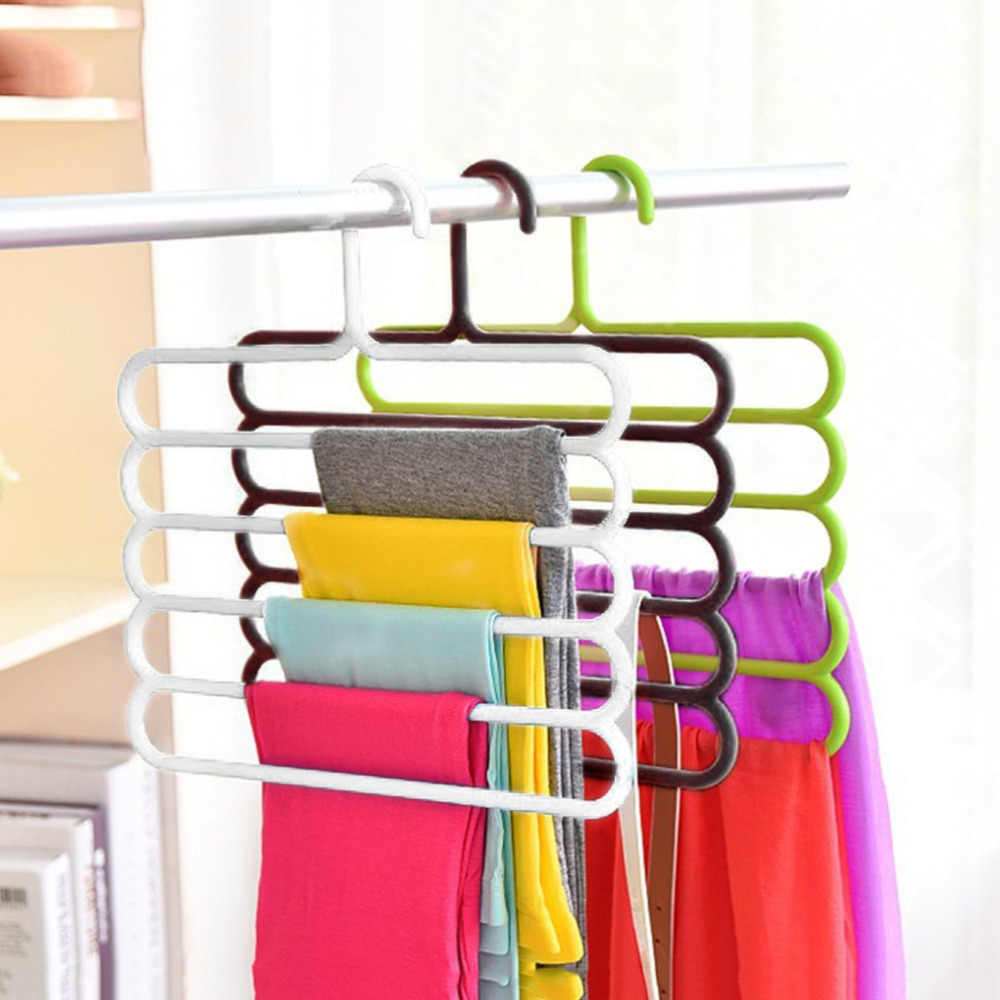 5 Layers Anti-slip MagicTrousers Hanger Multifunction PP Pants Closet Belt Holder Rack S-type Bathroom Saving Space