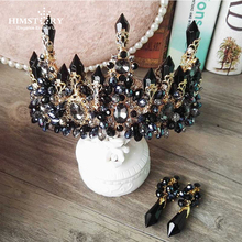 HIMSTORY Oversize Black Baroque Royal Tiaras Crown New Luxury Big European Gorgeous Crystal Queen Wedding Hair Accessories