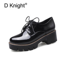 New Sweet Round Toe Lace Up Women's Casual Oxford Shoes Fashion Patent Oxfords For Women Young Ladies Campus Shoes Size 34-43 hot sale carved british style oxford shoes for women fashion sweet flat lace up women oxfords ladies casual four seasons shoes