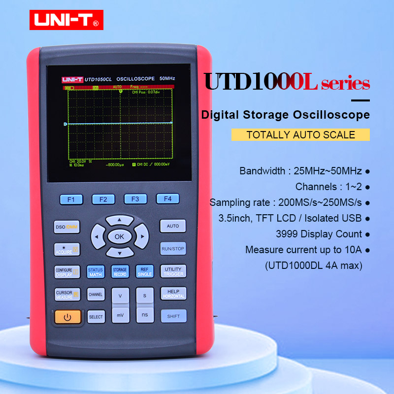 UNI T UTD1025CL Handheld Digital Storage Oscilloscopes 3 5 LCD Digital display Fully Auto Scale Oscilloscopes
