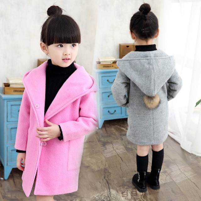 New 2016 autumn winter fashion solid hooded woolen girls coat casual long children jacket suit baby girl woolen coat
