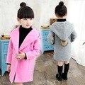 Novo 2016 outono inverno moda sólidos meninas casaco de lã com capuz casuais longo jaqueta crianças terno do bebê menina casaco de lã