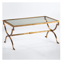 American rural Nordic art hardware toughened glass tea table. Rectangular coffee table(China)
