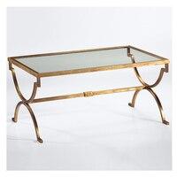 American rural Nordic art hardware toughened glass tea table. Rectangular coffee table