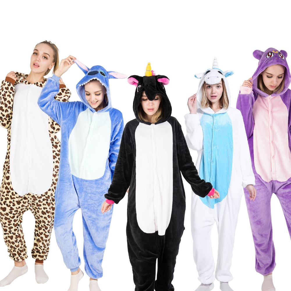 KIGUCOS Adult Onepiece Animal Pajamas Cartoon Panda Sleepwear Men And Women Funny Christmas Gift Unicorn Onesies Winter Pijama