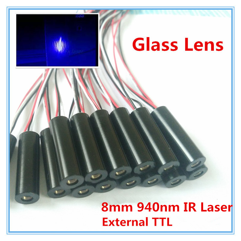 External TTL 8mm 940nm 1mW 5mW 10mW 50mW IR Laser Diode Module Dot Industrial Grade APC Driver 658nm 5mw 62 5 125um fc apc red laser pigtail fiber diode module 12vdc ttl 1m