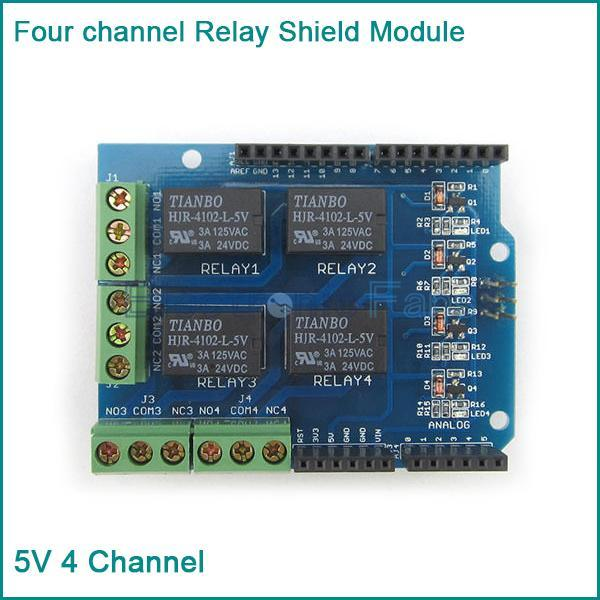 New Four channel Relay Shield 5V 4 Channel Relay Shield Module for Arduino