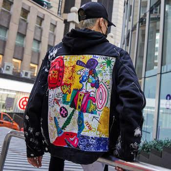 DARK ICON Graffiti Appliques Hip Hop Jean Jacket Men 2019 Art Gone Mad Turn Down Collar Denim Jackets Men Streetwear Clothes