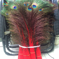 Wholesale 100pcs beautiful red peacock feather eye 80 90cm / 32 36 inch decorative celebration stage performance diy feathers