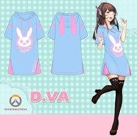 Anime Overwatchs Over Watch DVA Rabbit Summer Dress Tshirt Tee T Shirt Cosplay Costume