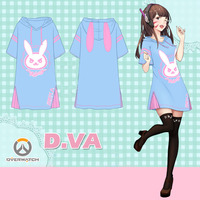 Anime Overwatchs Over Watch DVA Rabbit Summer Dress Tshirt Tee T Shirt Cosplay Costume