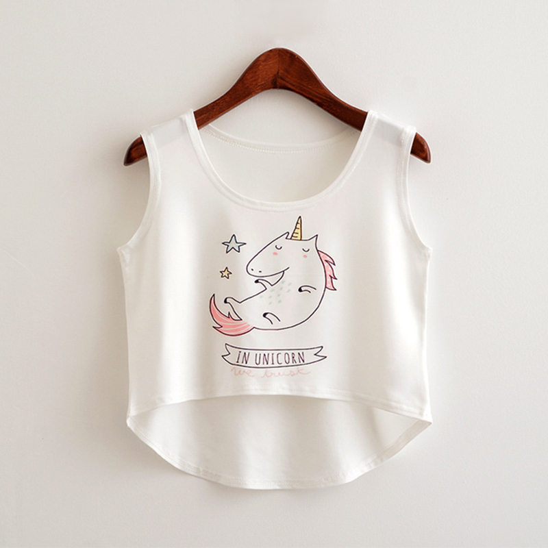 ROSASSY 2017 bare midriff Tank tops Women harajuk Crew Neck Top sleeveless Cartoon unicorn Tanks Summer t shirt woman