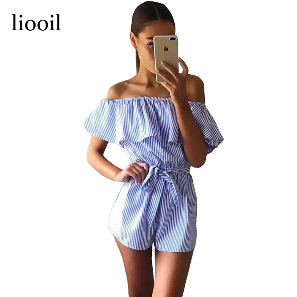 14c8f5c3afd Szkzk Off Shoulder Strapless Striped Overalls for Women Fashion Sky Blue  and White Ruffles Sexy Beach Playsuits and Jumpsuits-in Rompers from Women s  ...