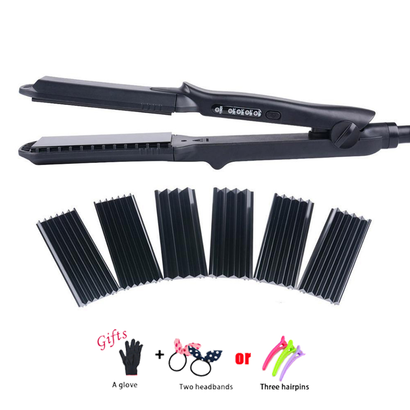 4In1 Professional 110-240V Hair Curling Iron Ceramic Hair Curler Roller Electric Hair Straightener Crimper Corrugated Curl C09 все цены