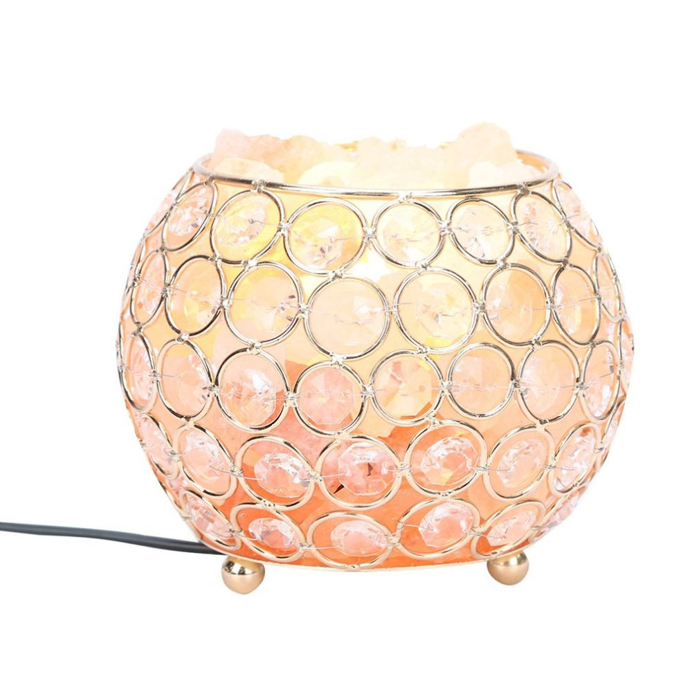 ICOCO Beautiful Night Light Round Ball Shape Healthy Life Himalayan Natural Crystal Salt Light Air Purifying Home Furniture Lamp