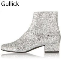 Newest Shinny Bling Bling Glitter Knee High Boots Flat Thick Heel Round Toe Women Long Boots Slip-on Winter Rainboots