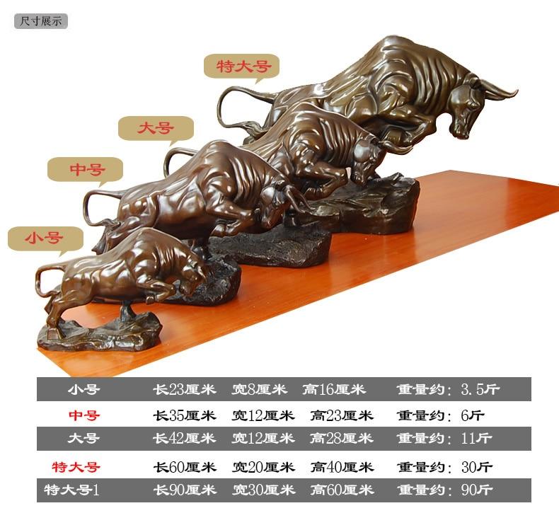 31*29CM Size Art Bovine statuary Feng shui Anger OX Bull Statue copper craft tools wedding Decoration Brass real Brass Bronze
