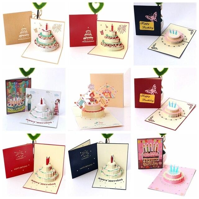Happy Birthday Postcard Greeting Gift Cards Blank Paper 3d Handmade