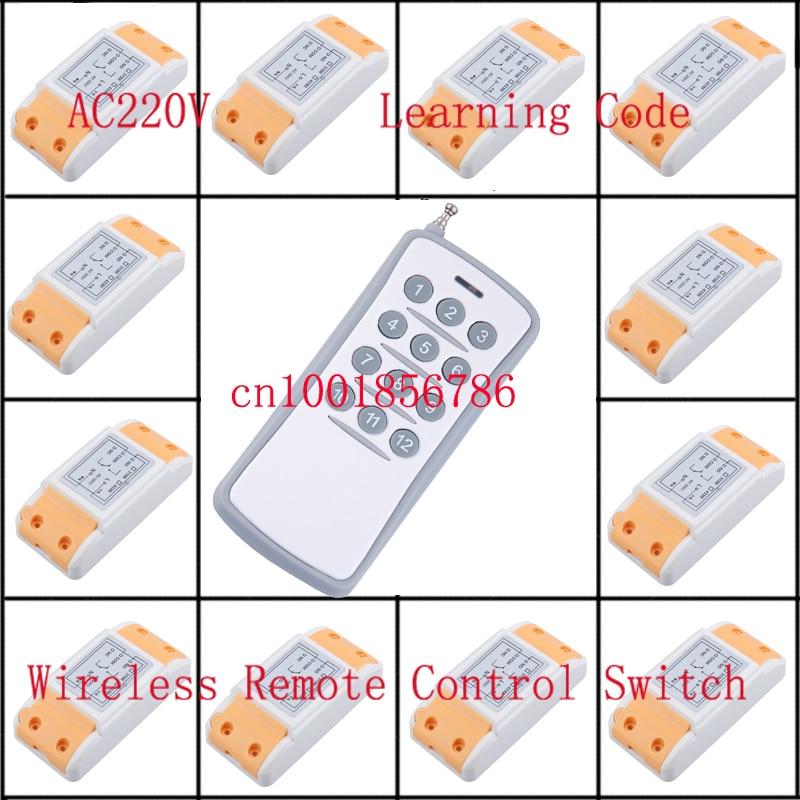 220 V 10A 12CH 1500 W interruptor de control remoto inalámbrico 12 Receptor y 1