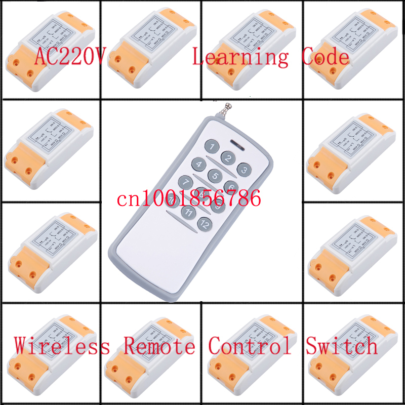 220V 10A 12CH 1500W wireless remote control switch 12 Receiver &1 Transmitter Learning code adjustable control switch smart home