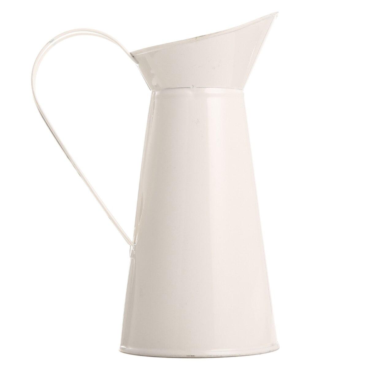 1pc Shabby Chic Cream Flower Vase Enamel Pitcher Jug Retro Iron Tub For Wedding Home Decor Storage Bucket Tool