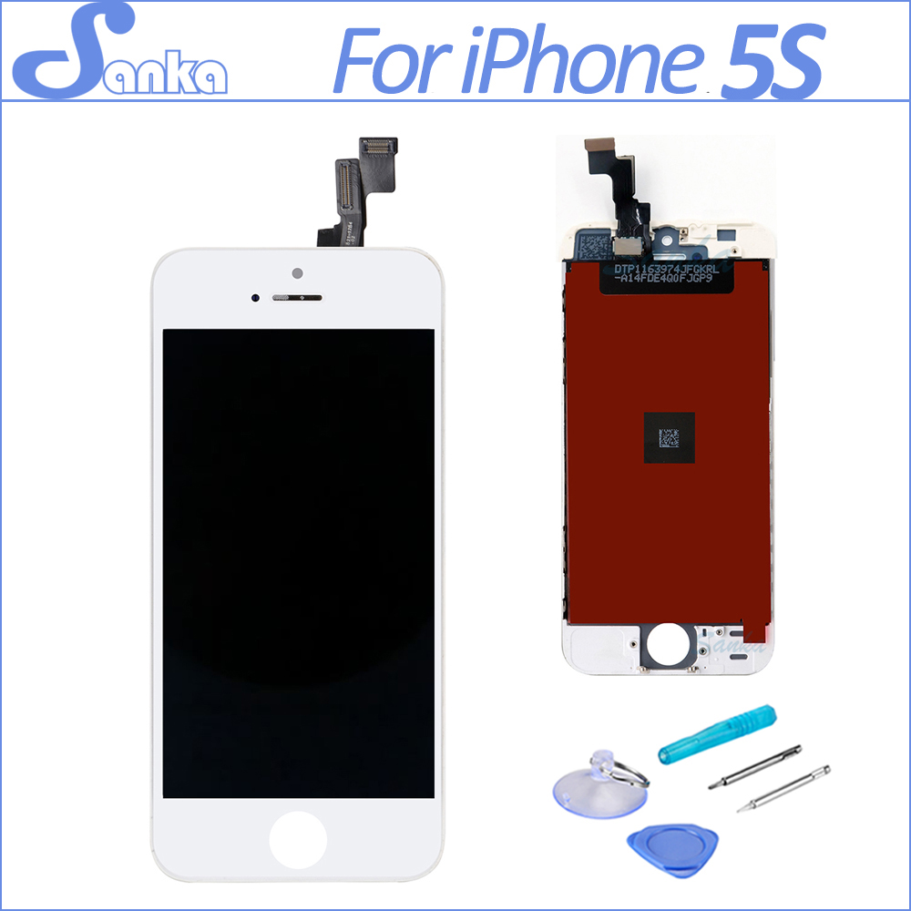SANKA AAA LCD For iPhone 5S Screen Touch Screen Digitizer Assembly Replacement Pantalla LCD Display Mobile Phone Parts White