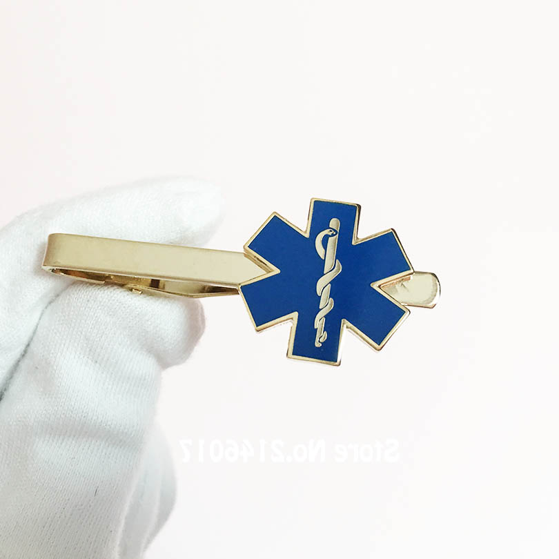 dee177541979 Paramedic Iron Doctor Tie Clips Nursing Ambulance Cuff Links Blue Enamel Ties  Bar Snake Symbol Metal Star of Life Cufflink-in Tie Clips & Cufflinks from  ...