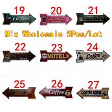 Coffee Restaurant Arrow Wholesale Metal Irregular Tin Signs Advertising board Wall Pub Home Art Decor 42X10CM U-19