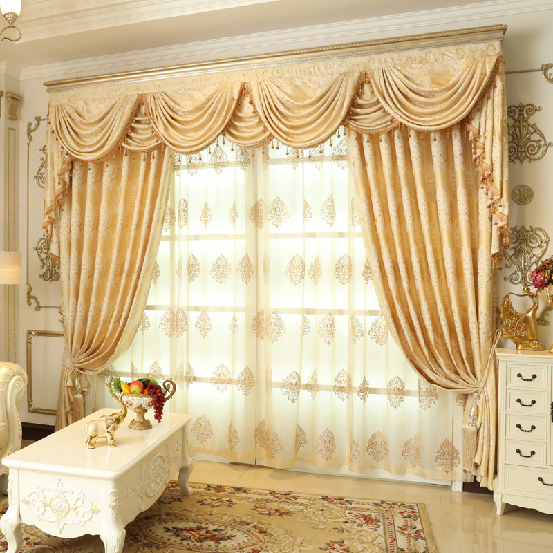2016 weekend blue european luxury semi blackout curtains for living room yellow floral jacquard. Black Bedroom Furniture Sets. Home Design Ideas