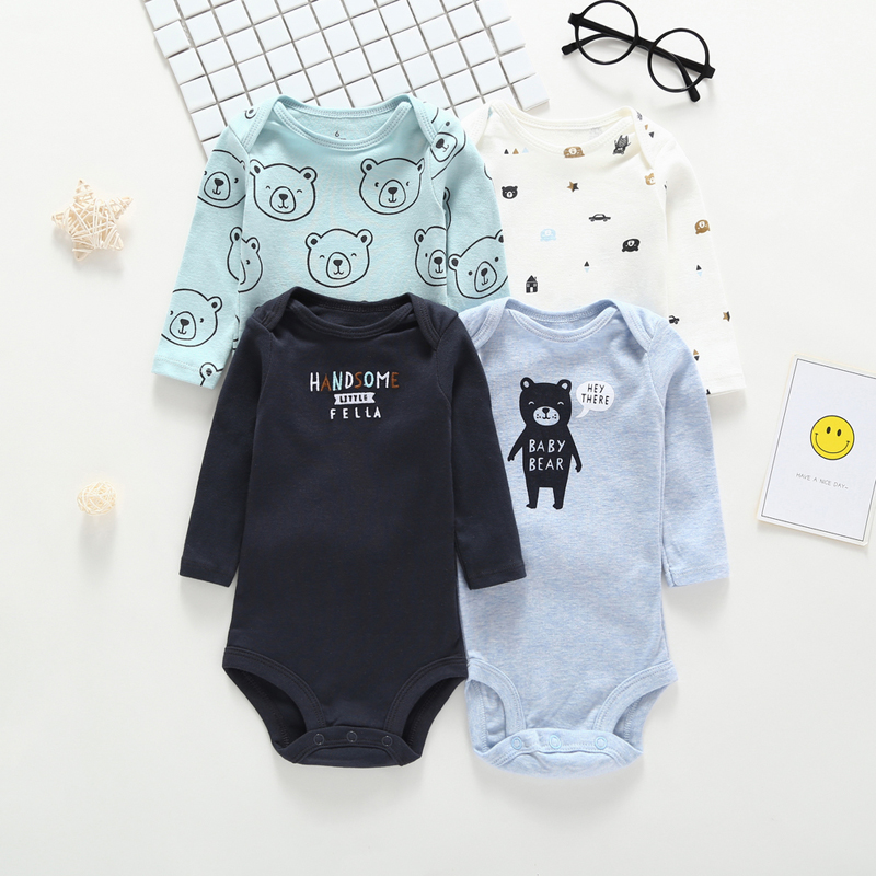 Image 3 - long sleeve cartoon bear bodysuit for baby boy girl clothes cotton unisex newborn body Infant bodysuits 2019 fashion costume-in Bodysuits from Mother & Kids