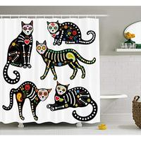 Vixm Sugar Skull Calavera Ornate Black Cats in Mexican Style Holiday the Day of the Dead Fabric Shower Curtains