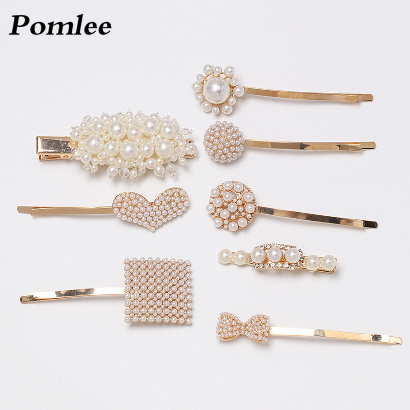 Pomlee New Fashion Simulated Pearl Korean Hair Pins Bobby Pins Barrette for Women White Pearl Hair Jewelry Headwear Weddding in Hair Jewelry from Jewelry Accessories