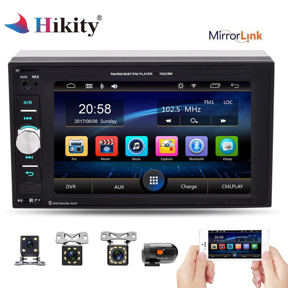 Hikity 2 Din Car Radio 6.2 inch Auto audio Player Touch Screen MP5 Player Autoradio Bluetooth Rear View Camera DVR Mirror Link