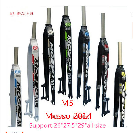2014 MOSSO M5 bicycle fork Support for 26 27.5 29er inch all size mountain bike forks Road carbon MTB downhill bicicleta parts bicycle fork am road mtb bike fork 26 27 5 size fork pk sr suntour mosso forks hot selling 2017