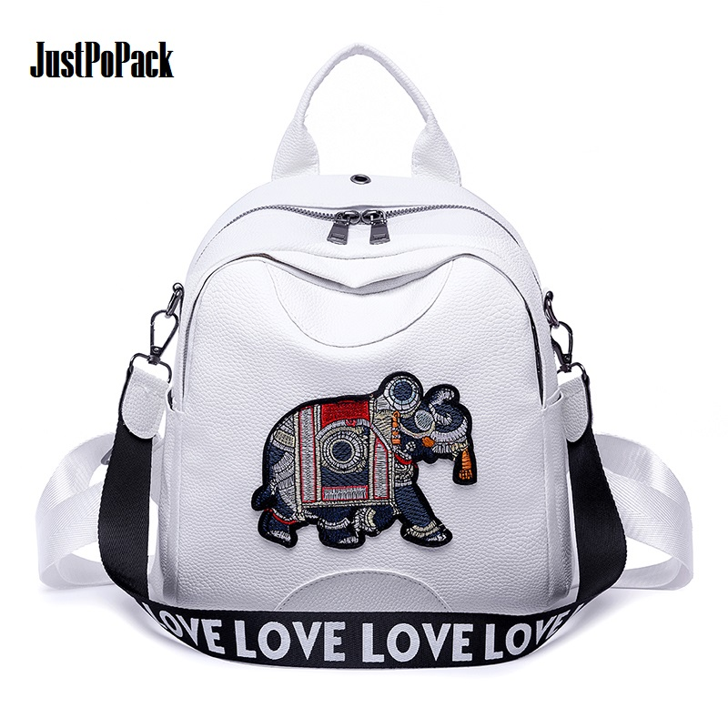 Women's Harajuku Anti-theft Backpack with Elephant embroidery Headphone hole Letter strap Small Leather Bag No smell Black White