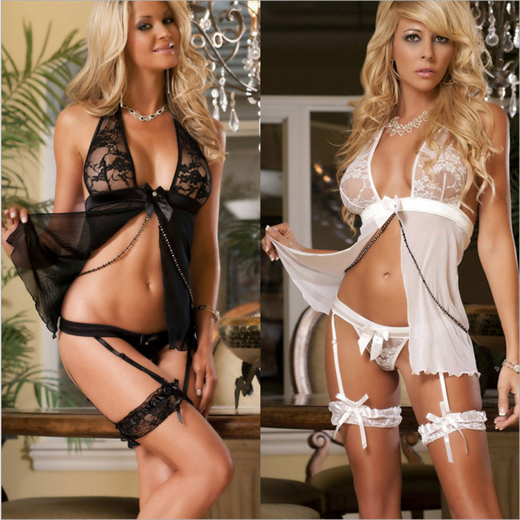 Sexy Lingerie Hot Fashion Lady Lace Transparent Sexy Underwear Set Sexy Costumes Nightgown With G string