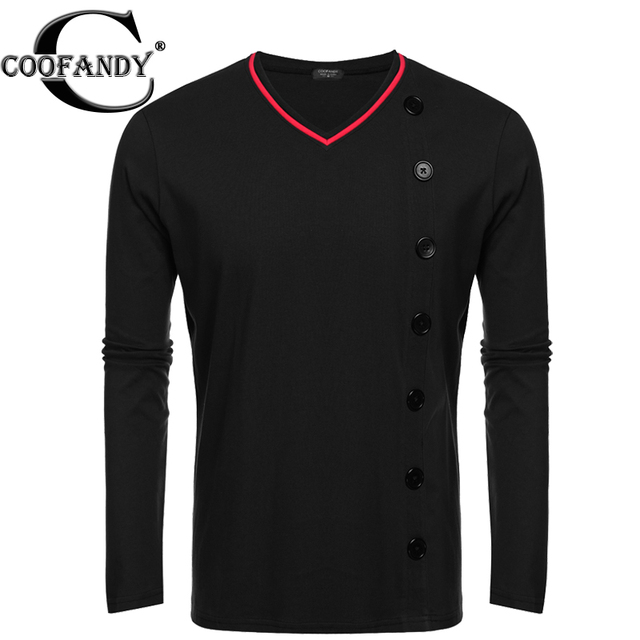 COOFANDY Homens Casual T-Shirt Moda Outono Botão Pullover Básico Com Decote Em V Manga Longa Sólida T Shirt Tee Top EUA Tamanho S/M/L/XL/XXL